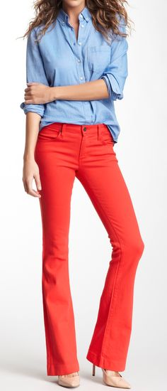 Coral flare jeans