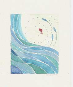 abstract blue wave and red fish original watercolor by ollina