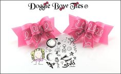 """""""Pink Scribbles"""" Tiny Ties Dog Bows by Doggie Bow Ties."""