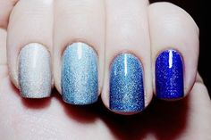 39 Glitter Nail Polish Ideas~ love this one! The darkest blue is gorgeous!!