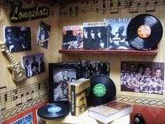 inside of mini music store shadow box