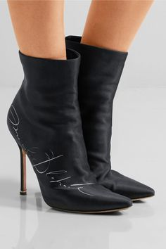 Vetements - Manolo Blahnik Printed Satin Ankle Boots - Black - IT