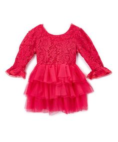 Hot Pink Lace-Accent Bell-Sleeve Dress - Infant, Toddler & Girls