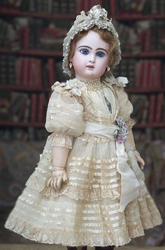 "26"" (67 cm) Antique Beautiful French Bisque Bebe Jumeau with Rare ""D"" Mark Antique dolls at Respectfulbear.com"