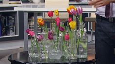 Nothing says spring like gorgeous, colourful tulips! On today's show, Steven and Chris showed us how to design five stunning arrangements using tulips.Step-by-step1. Snip tulips at different lengths on a 45 degree angle.2. Place individual or paired tulips into each...
