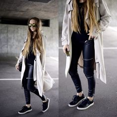 Trenchcoat - Zara, leather - Zara, sneaker - Kiomi