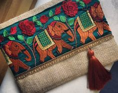 Elephant Bohemian Clutch Boho Bag Fashion by BohoChicCollection Jute Fabric, Felt Fabric, Floral Clutches, Jute Bags, Embroidered Bag, Vintage Embroidery, Boho, Clutch Purse, Fashion Bags