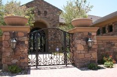 Courtyard Landscaping, Courtyard Design, Front Courtyard, Front Yard Landscaping, Front Yard Fence, Fenced In Yard, Wrought Iron Driveway Gates, Iron Gates, Patio Wall