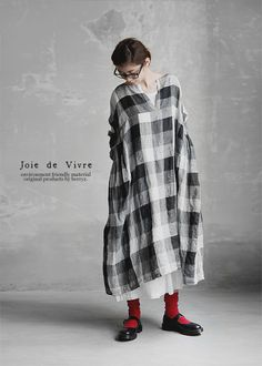 【送料無料】Joie de Vivreフレンチリネングラデーションチェック スキッパーワンピース