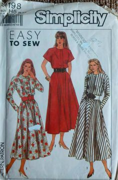 Simplicity 9198 Womens Vintage 1980s  Sewing by Sutlerssundries, $5.00