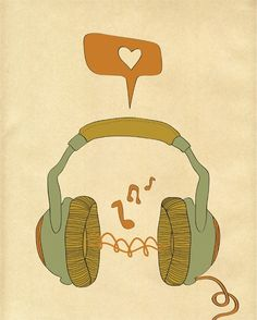 "Music Art Print, Digital Print Wall Decor, ""MUSIC"" Giclee Print Artwork, Music Love Giclee Print, Retro Music Headphones Giclee Print. $19.00, via Etsy."
