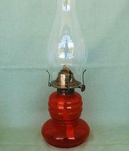 Miniature Oil Lamp Orange Glass with Acorn Burner