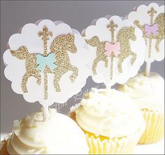 Cupcake Toppers Gold Glitter Carousel Horse by JaclynPetersDesigns