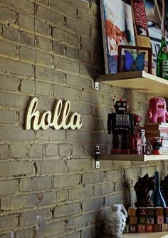holla wood sign made from upcycled wood