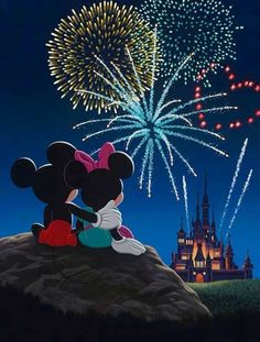 Mickey and Minnie watching fireworks.