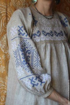 платье с вышивкой обережное - серый,Вышивка крестом,оберег,льняное платье