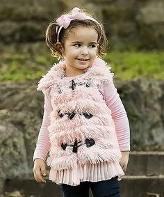 Look at this Mia Belle Baby Pink Furry Ruffle Vest - Toddler & Girls on #zulily today!
