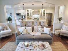 New Ideas Into Open Concept Kitchen Living Room Layout House Plans Never Before Revealed - fancyhomedecors Farmhouse Wall Decor Living Room, Home, Open Kitchen And Living Room, Living Dining Room, House Design, Livingroom Layout, Living Room Floor Plans, Room Layout, Living Room Grey