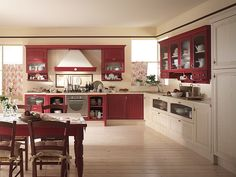 Coutry style the Italian way kitchen - red