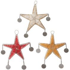 @WorldCrafts {Naapok Star Ornament Set ~ Naapok-Nanyok ~ Tanzania} Light and whimsical, these beaded stars make colorful additions to your Christmas tree! In order to support their families, the Maasai women use the funds from their jewelry making to purchase goats. These stars not only capture the Christmas spirit but also help families in rural areas of Tanzania survive! Features glass beads with silvertone discs. #fairtrade