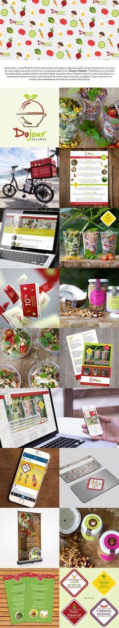 Trabalhamos o conceito de praticidade saudável dentro da identidade visual da marca. Desenvolvemos a bicicleta Dojour e atualmente fazemos toda a comunicação de marca que inclui site, cardápios, flyers, banners e a criação das embalagens da linha de produtos By Dojour. | branding graphic design website healthy food embalagem packaging saladas |