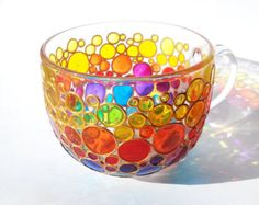 Large Rainbow Mug Jumbo Coffee mug Glass Cup Tea Mug Hand painted Sun catcher big cup Multi Coloured Bubbles Mug Painted Glass cup