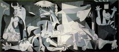 Guernica, 1937 by Pablo Picasso | Guernica is blue, black and white, 3.5 metre (11 ft) tall and 7.8 metre (25.6 ft) wide, a mural-size canvas painted in oil. Guernica was painted as an immediate reaction to the Nazi's devastating bombing of the Basque town of Guernica during Spanish Civil War.