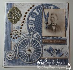 T T penny farthing Clock msle Vintage Scrapbook, Scrapbook Albums, Scrapbook Layouts, Shabby Chic Gifts, Marianne Design Cards, Steampunk Theme, Bicycle Cards, 3d Cards, Time To Celebrate