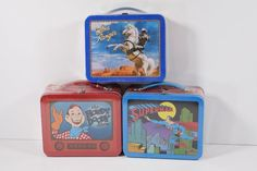 Lot of 3 Hallmark School Days Mini Lunchboxes Lone Ranger Superman Howdy Doody