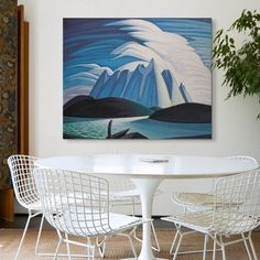 "Canadian mountain painting in Modern dining room - ""Lake And Mountain"" canvas print by Lawren Harris available on Great BIG Canvas. Blue Abstract, Abstract Wall Art, Dining Room Art, Big Wall Art, Photo To Art, Mountain Art, Mountain Paintings, Winter Art, Blue Art"