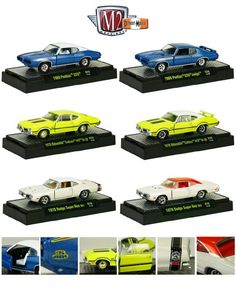 Detroit Muscle 6 Cars Set Release 28 IN DISPLAY CASES 1/64 by M2 Machines 32600-28