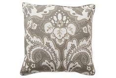 Luxe 18x18 Pillow, Stone/White
