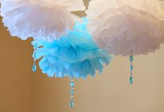 White and Blue Crystal drop poms SET OF THREE baby shower first birthday party decoration Winter Wonderland ONEderland Tiffany icicle. $14.99, via Etsy.