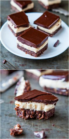 Nanaimo Bars - 3-layer no-bake bars with a chocolate/ coconut/graham/almond base, filled with buttercream & topped with more chocolate! Rich isn't even the word! So good!