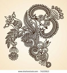 Stock Vector Illustration: Hand-Drawn Abstract Henna Mendie Flowers Doodle Vector Illustration Design Element - stock vector