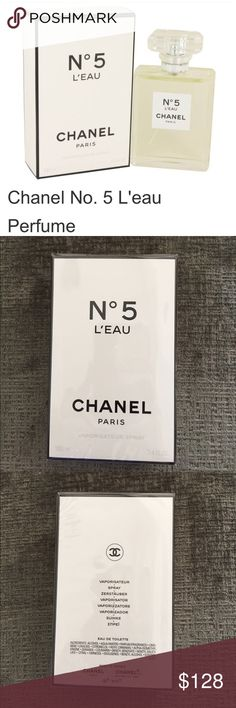 NEW! CHANEL No 5 L'EAU 3.4 fl Oz 100 ml A modern, fresh and vibrant embodiment of the now and forever scent. Timeless and audacious.   Composition:  Features dynamic, crisp top notes of lemon, mandarin, and orange that reveal lightheartedness and transparency. The emblematic heart of the bouquet unfolds with rose, jasmine, and a new fraction of ylang ylang, more modern than ever. Behind this floral whirlwind lies an unprecedented sense of liveliness: the vibrant echo of cedar, accompanied by…