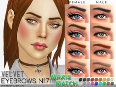 5 maxis match style eyebrows in 18 usual colors. All ages, all genders. Found in TSR Category 'Sims 4 Hair Sets'