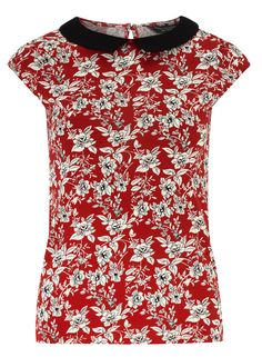 Photo 1 of Red floral collar top