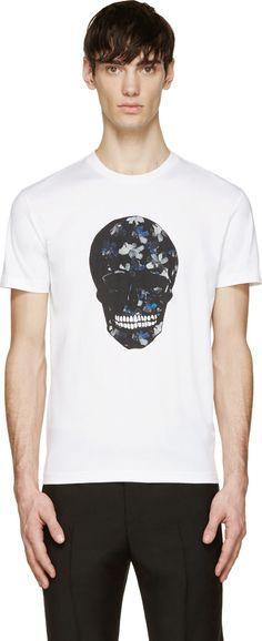 White Floral Skull T-Shirt - Markus Lupfer