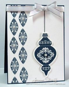 "Blue Ornament by Jeanne S - Cards and Paper Crafts at Splitcoaststampers **** SU ""Ornament Keepsakes"" & ""Holiday Ornaments"" Framelits Dies, 2012 Holiday Mini."