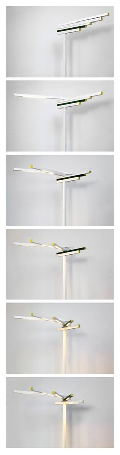 """""""KURKI is a standing mobile led light. It's light arms moves +360 degrees where the user needs light. While arms are closed the light is off. By moving any arm horizontally the light turns on that particular arm. User can adjust the power of light and the look of the product in a same time.The lamp is as flexible as visual. By using ecological and small component leds it gives a possibility to a minimal look. KURKI light works as a lamp and light sculpture in any space."""" By Mari Lisopahkala"""