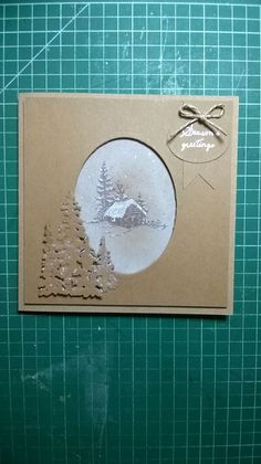 Inkylicious Winter Cabin stap and Sue Wilson Winter trees Die on Craft Card.