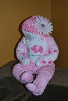 Baby Shower diaper cake baby pink girl. $80.00, via Etsy.