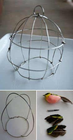 CRAFTS :: DIY Wire Birdcage Tutorial :: This could also be used as a potted plant cloche for something like thyme or baby's tears. Wire Hanger Crafts, Wire Hangers, Wire Crafts, Metal Crafts, Fun Crafts, Diy And Crafts, Arts And Crafts, Wire Tutorials, Bird Cages