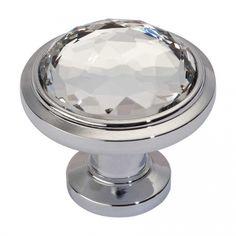 Atlas Homewares Legacy Crystal 1-5/16 Inch Diameter Polished Chrome Cabinet Knob 343-CH