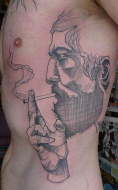 Bearded man smoking line drawing tattoo by Lea Nahon @ La Boucherie Moderne.