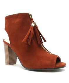 Love this Rust Tassel Lucy Peep-Toe Bootie by Qupid on #zulily! #zulilyfinds