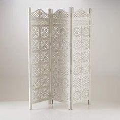Paravent 3 panneaux, façon moucharabieh, coloris blanc, Aima La Redoute Interieurs - Paravent