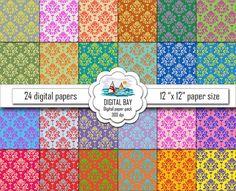 COLORFUL DAMASK Digital paper pack  Instant download by DigitalBay