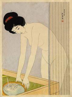 hanga gallery . . . torii gallery: Woman Washing Her Face by Hashiguchi Goyo